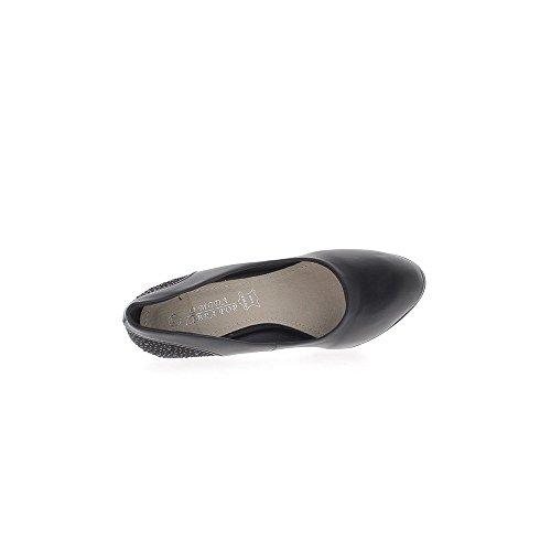 Escarpins noirs mats à talon de 10cm et plateforme décor strass