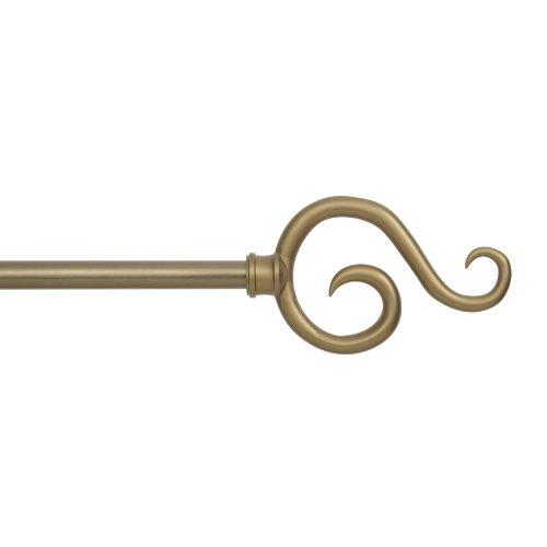 Kenney Scroll Hook Window Curtain Rod, 28 to 48-Inch, Antique Brass