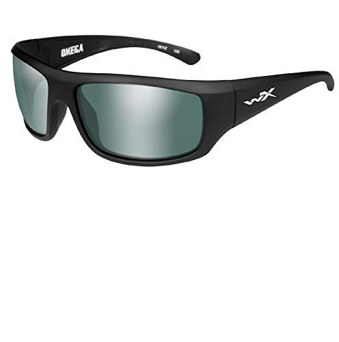 Wiley-X ACOME06 Omega Sunglasses Polarized Green Platinum Flash, Black
