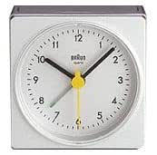 Braun Square Small Travel Alarm Clock, White