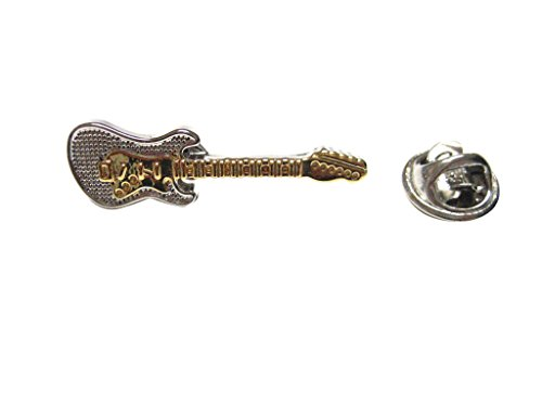 Gold and Silver Toned Electric Guitar Musical Instrument Lapel Pin
