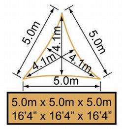 Triangolare 5 mt Bianco Polare Traspirante Intrecciata Tende a vela Kookaburra per feste 185g