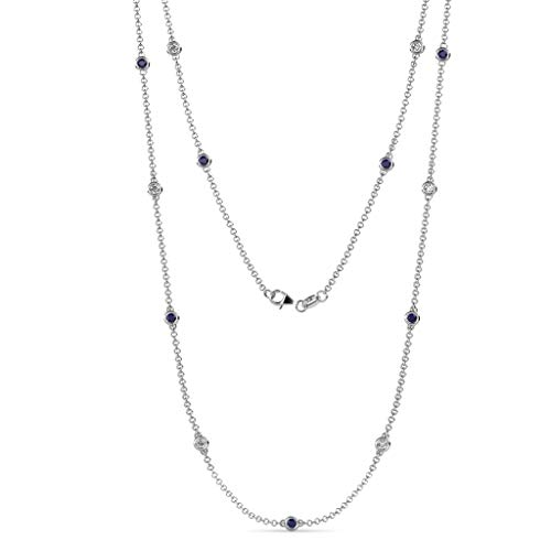TriJewels 13 Stations Blue Sapphire & Diamond on The Cable Necklace 0.85 ct tw in 14K White Gold.18 Inches in ()