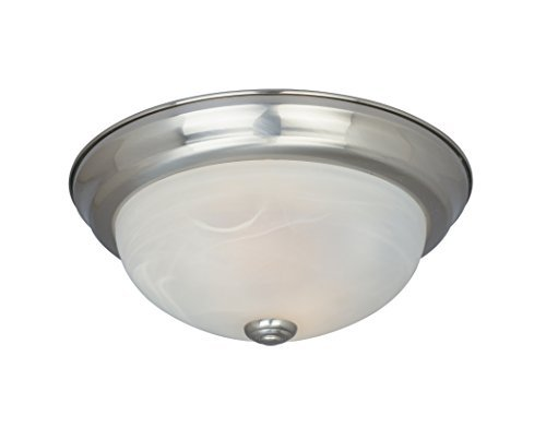 Designers Fountain ES1257S-SP-AL Lunar ES Collection 1-Light Energy Star Rated CFL Flush Mount, Satin Platinum Finish with Alabaster Glass by Designers Fountain