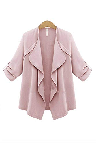 Relaxed Exteriores Tallas Ligeros Pink Color Outwear Larga Sólido Abierto Grandes Cardigan Otoño Battercake Mujer Primavera Manga Prendas Chaqueta Casuales Elegante Mujeres 7Z7qHB