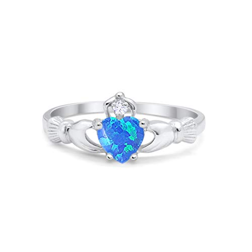 Irish Claddagh Heart Promise Ring Lab Created Blue Opal Round CZ 925 Sterling Silver, Size-3