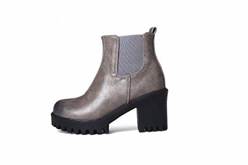 Invierno mujer y grandes Otoño el talón corto botas Unidos Europa los Women's RFF Shoes de áspero con gray Estados tubo Pu de e astilleros aqI8ATpW