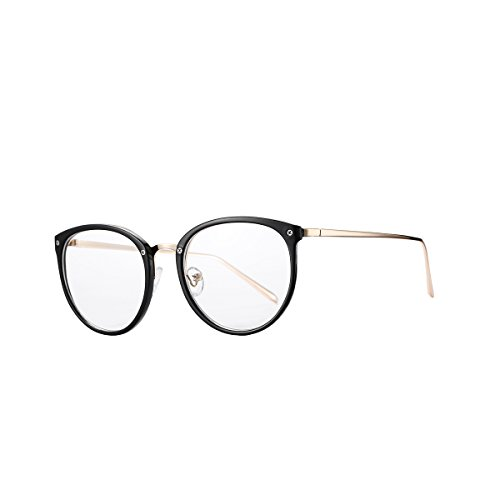 AZORB Womens Vintage Optical Eyeglasses Non-prescription Clear Lenses Eyewear (Black, - Prescription Stylish Glasses Non