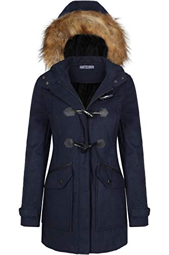 BodiLove Women's Faux Fur Trim Hooded Duffle Coat with Toggle Buttons Navy M(PW044) (Fur Coat Toggle Faux)
