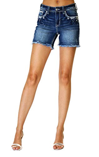 Grace in LA Women's Easy Fit Silver Americana Embellished Denim Shorts | EH-51501-SL