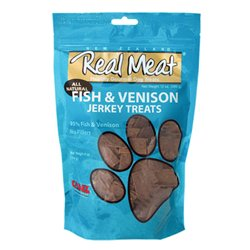 The Real Meat Company 828034 Dog Jerky Fish/Venison Strips Treat, Long, 8-Ounce