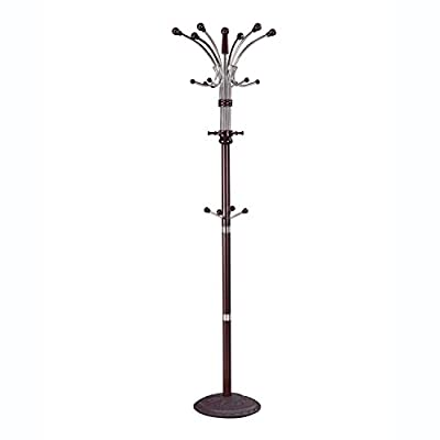 ACME Hubert Espresso Coat Rack - Hubert collection coat rack hat stand comes in espresso finish Made of iron tube and 43-mm wooden material Features coat hooks on top and middle - entryway-furniture-decor, entryway-laundry-room, coat-racks - 31K5UiJ67mL. SS400  -
