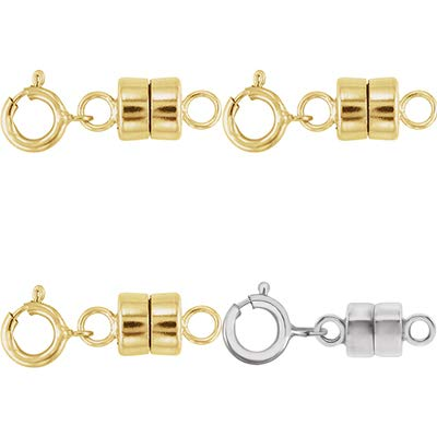 3 - Each New Solid 14k Yellow Gold and 1 - New Solid 14K White Gold Round Magnetic Clasp w/ 14K White Gold 5mm Spring Ring Clasp for Necklaces, Bracelets, and Anklets - Jewelry By Sweetpea ()
