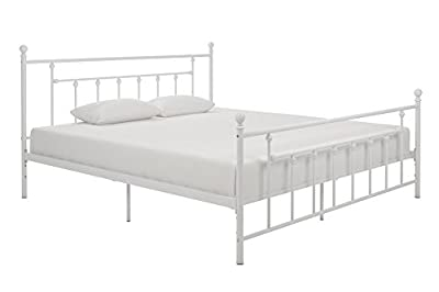 DHP Manila Metal Bed with Victorian Style Headboard and Footboard, Includes Metal Slats, Twin Size, White
