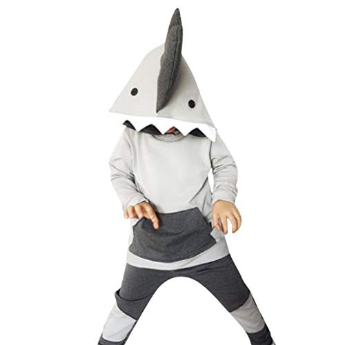 Baby Toddler Kids Baby Girls Shark Hoody Top +Pants Trousers Set Tracksuits Clothes Long Sleeve Hooded (Gray, 100)