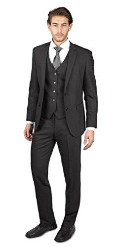 Alain Dupetit Men's THREE Piece TR Blend Suit 50R Charcoal-Grey