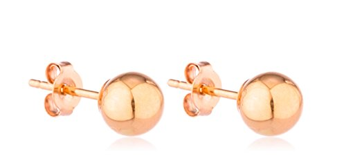 14K Gold Ball Earrings with Matching 14k Pushbacks - All Sizes and Colors Ava.]()