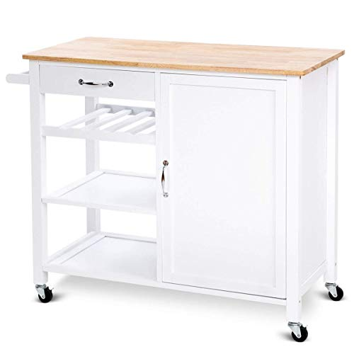 (Giantex 4-Tier Kitchen Trolley Cart w/Wheels Rolling Storage Cabinet Wooden Table Multi-Function Island Cart Kitchen Truck White)