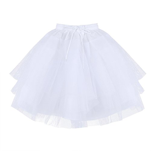 TiaoBug Kids Flower Girls 3 Layers Net Pageant Evening Wedding Dress Underskirt Crinoline Slip Bridesmaid Skirt Petticoat White One Size