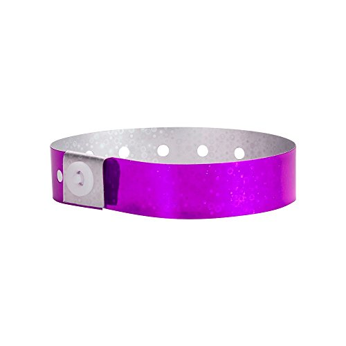 WristCo Holographic Purple Plastic Wristbands - 100 Pack Wristbands For Events