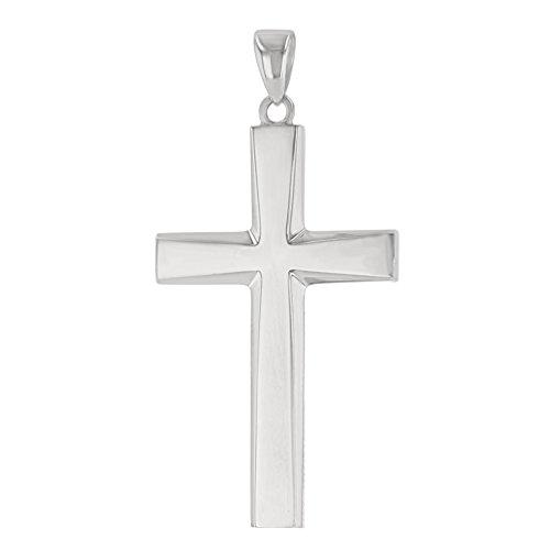 14K White Gold Plain & Simple Religious Cross Pendant ()