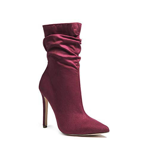(fatty tiger Womens Ruched Pointed Toe Ankle Boots Soft Faux Suede High Stiletto Heel Ankle Booties Wine 7)