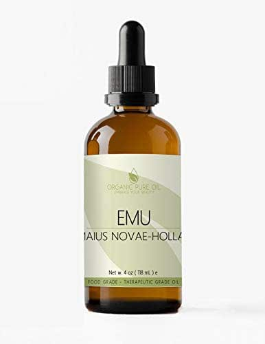 Australian Emu Oil 7 Times Refined 4 oz – 100% Pure Natural Premium Pharmaceutical Top Grade A for Hair Face Body Pain Relief Joint Pain Muscle Hair Growth Nail Cuticles by Organic Pure Oil