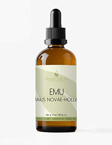 Australian Emu Oil 7 Times Refined 4 oz - 100% Pure Natural Premium Pharmaceutical Top Grade A for Hair Face Body Pain Relief Joint Pain Muscle Hair Growth Nail Cuticles by Organic Pure Oil ()