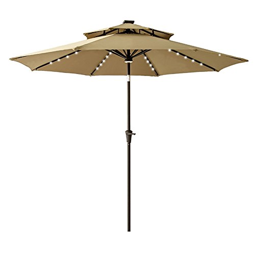 FLAME&SHADE 9' Double Top Solar Lighted Patio Umbrella with Solar LED Outdoor Lights and Tilt for Outside Table Balcony or Deck, Beige (Covers Patio Solar)
