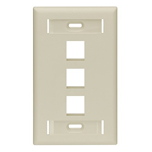 Leviton 42080-3IS QuickPort Wallplate with Id Window, Single Gang, 3-Port, Ivory