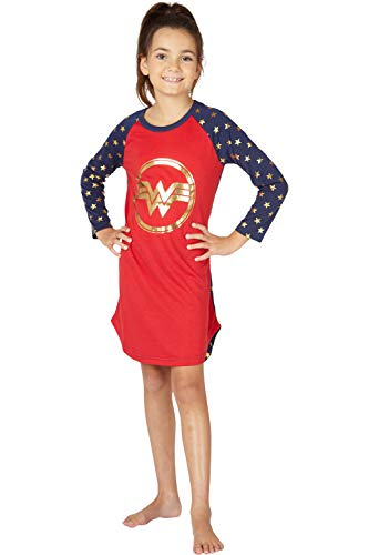 Intimo Wonder Woman Costume Girls' Gold Logo Raglan Nightgown Pajama Sleep Shirt (M, -