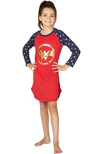 Intimo Wonder Woman Costume Girls' Gold Logo Raglan Nightgown Pajama Sleep Shirt (S, 6/6X)