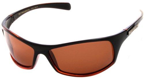 Nitrogen Men's Black and Orange Frame Black Lens Rectangular Wrap 65mm Polarized Sunglasses
