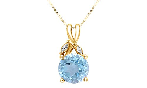 Blue Topaz and White Diamond Pendant With Chain Necklace In 10K Solid Yellow Gold