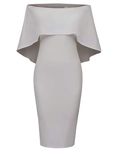 - GRACE KARIN Women Off Shoulder Batwing Cape Midi Dress XL Grey