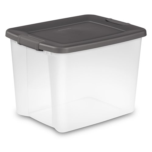 Gray Stacking Storage Cabinet (Sterilite 50 Quart Clear ShelfTote with Gray Lid - 19-7/8