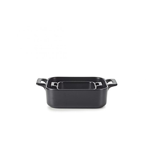 REVOL SET02BC002 Porcelain Square Black Baking Dishes, Cast Iron Style by Revol