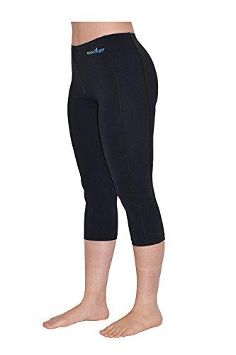 Women UV Protective Clothes Swim Tights Capri Length Black