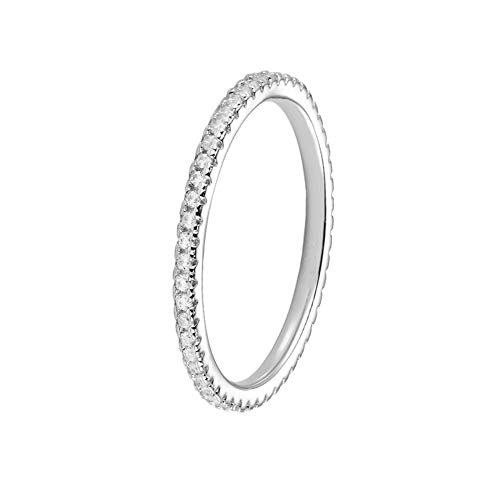 Erllo 1.5mm Full Eternity Bands for Women 925 Sterling Silver Micropave Cubic Zirconia Ring (White Gold Color, -