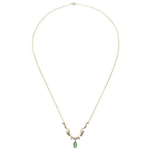Revoni Bague en or jaune 9carats-Diamant émeraude et collier