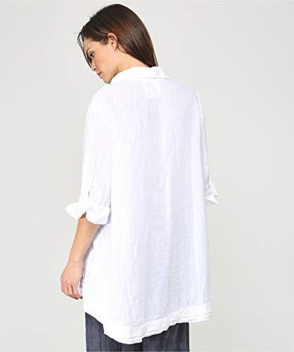 Tamaño Gran Blanco De L Camisa Mujeres Lino Grizas Lavado wCIqPP