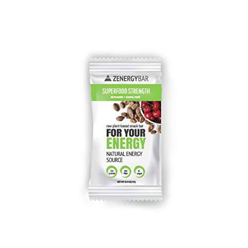 Almond Superfood Strength Zenergy Bar - Low Sugar Health Bar - Nuts Protein Nutrition Chocolate Bar - Organic Plant Based Gluten Free Breakfast Snack Bite for Your Energy (Box of 12) Vegan