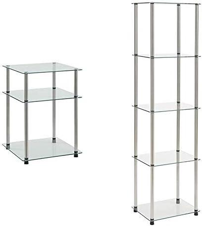 Convenience Concepts Designs2Go Classic Glass 3 Tier End Table