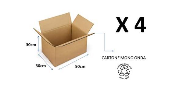 4 cajas de cartón de 50 x 30 x 30 cm, embalaje de cartón de una sola onda, para envíos/almacén/traslóbulo, caja habana neutra: Amazon.es: Bricolaje y herramientas