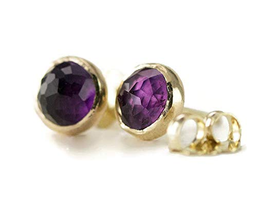 14k Gold Amethyst Studs - Bezel Set 6mm Rose Cut Gemstones - YG/RG - Choose Your Stone