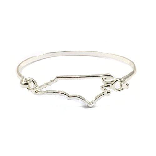 State Shape Bangle Bracelet (North Carolina-Silver)