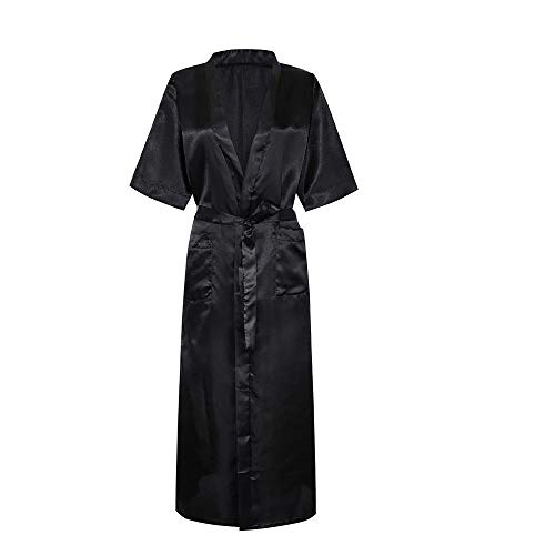 POQOQ Sleepwear Lingerie Women Satin Long Silk Bath Robe Babydoll Nightdress XL Black]()