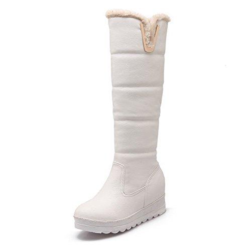 Allhqfashion Women's Pu Mid Top Solid Pull On Kitten Heels Boots White iz45e6Lp
