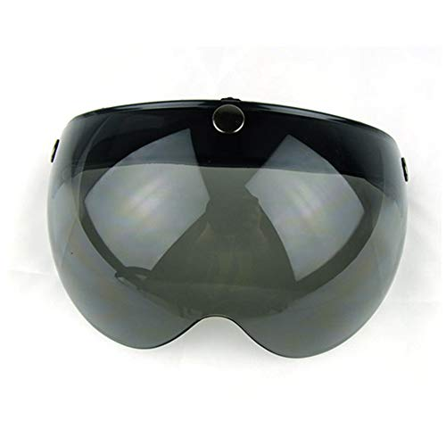 Wancar Universal Motorcycle Retro Pilot-Style Standard 3 Snap-Button Visor Flip Up Down Open Face Helmet Wind Shield(Dark Smoke)