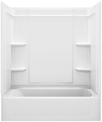 STERLING, a KOHLER Company 71320120-0 Ensemble 33.25-In X 60.25-In X 76.25-In Bathtub And Shower Kit with Right Hand Drain, White